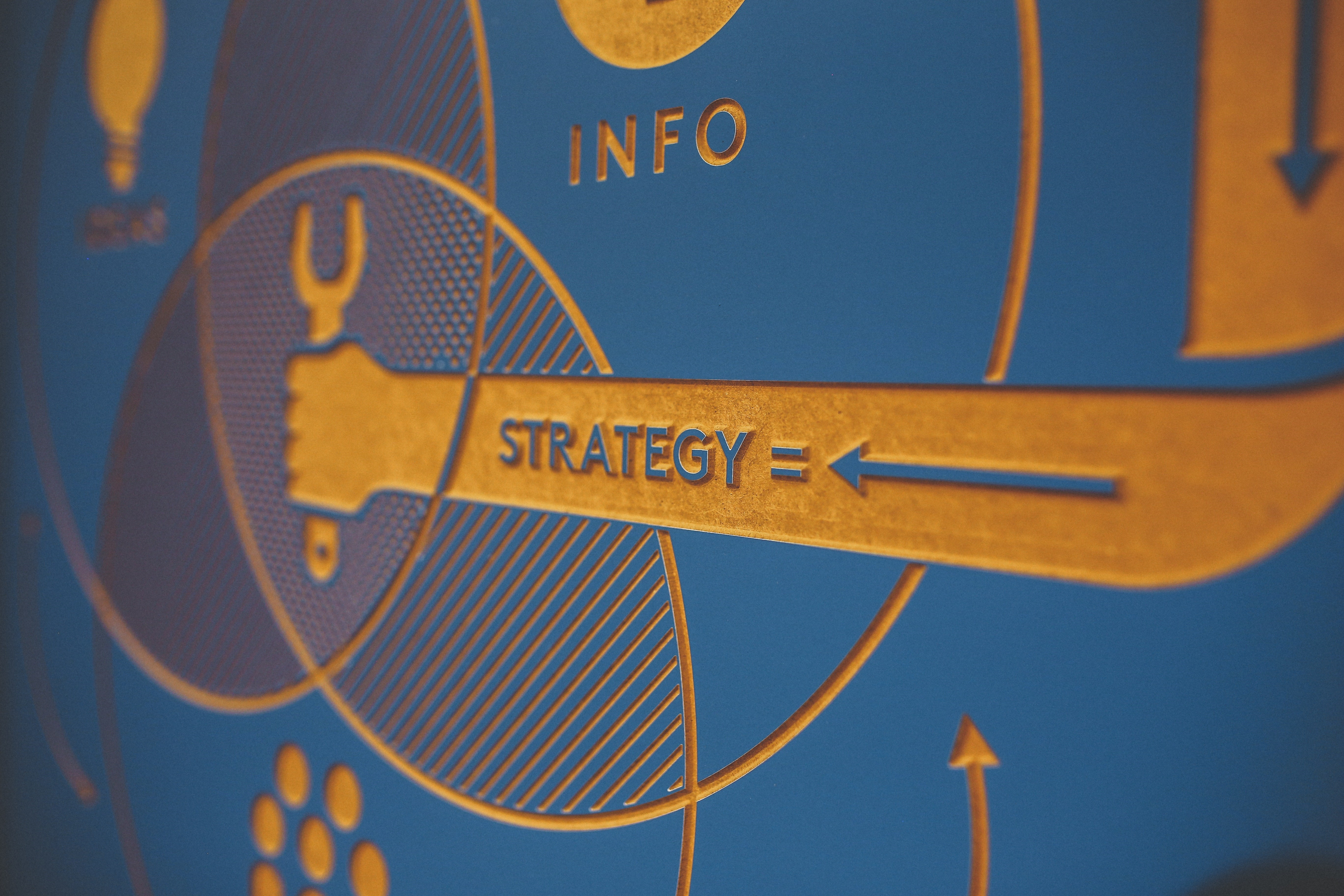 An arm holding a wrench within a venn diagram of info and ideas is using strategy to combine all the sections